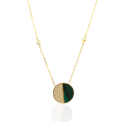 Silver, 925, gold plated necklace with malachite and white zircons.