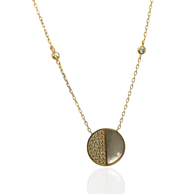 Silver, 925, gold plated necklace with mother of pearl and white zircons.