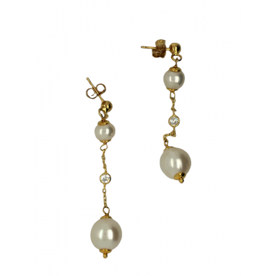 Silver, 925, gold plated earrings with pearls and white zircons.